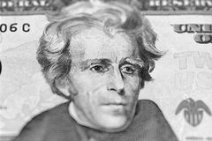 Retrato de Andrew Jackson de nós 20 dólares Fotos de Stock Royalty Free