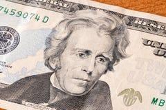 Retrato de Andrew Jackson na nota de dólar vinte imagem de stock