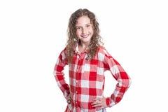 Retrato de 9 anos de menina idosa com cabelo encaracolado, isolado no branco Fotos de Stock Royalty Free