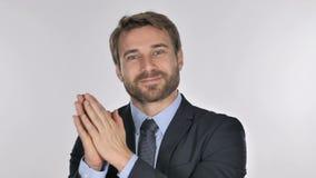 Retrato de aplaudir o homem de negócios considerável, aplaudindo video estoque