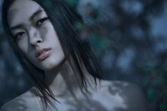 Retrato de Art Fashion Spring Model Girl en bosque de la noche imágenes de archivo libres de regalías