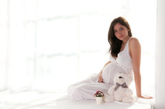 Retrato de assento da mulher gravida Imagens de Stock Royalty Free