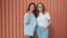 Retrato de bellas amigas que están afuera usando gafas de sol sonriendo almacen de metraje de vídeo