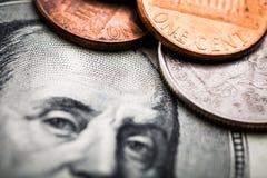 Retrato de Benjamin Franklin de cem dólares de cédula Imagem de Stock Royalty Free