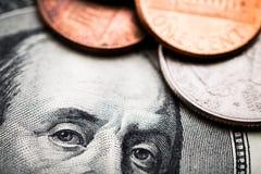 Retrato de Benjamin Franklin de cem dólares de cédula Fotografia de Stock Royalty Free