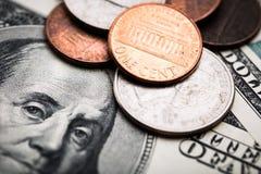 Retrato de Benjamin Franklin de cem dólares de cédula Fotos de Stock Royalty Free