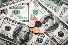 Retrato de Benjamin Franklin de cem dólares de cédula Foto de Stock
