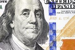 Retrato de Benjamin Franklin de cem dólares de conta Imagens de Stock Royalty Free