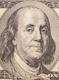 Retrato de Benjamin Franklin de una cuenta $100 Imagen de archivo libre de regalías