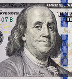 Retrato de Benjamin Franklin em 100 dólares de cédula Fotografia de Stock Royalty Free