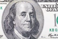 Retrato de Benjamin Franklin en cientos dólares Imágenes de archivo libres de regalías