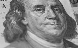Retrato de Benjamin Franklin de nós 100 dólares Fotos de Stock Royalty Free