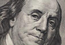 Retrato de Benjamin Franklin a partir de 100 dólares de bankno Fotografía de archivo