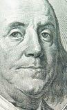 Retrato de Benjamin Franklin a partir de 100 dólares de batería Fotografía de archivo