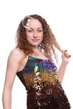 Retrato de bolhas da fêmea e de sabão Fotos de Stock