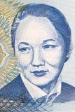 Retrato de Bubusara Beyshenalieva del dinero de Kyrgyzstans fotos de archivo