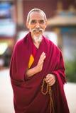 Retrato de círculo não identificado Boudhanath da monge Foto de Stock