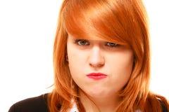 Retrato de cabelo vermelho da mulher de negócios isolado no branco Fotografia de Stock Royalty Free
