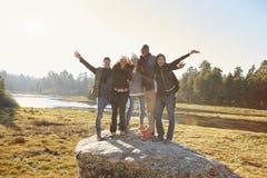 Retrato de cinco amigos que se colocan en una roca en campo Foto de archivo libre de regalías