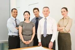 Retrato de cinco colegas do negócio imagens de stock royalty free