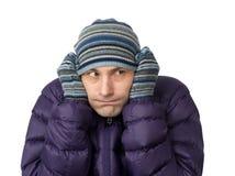Retrato de congelar o homem novo foto de stock