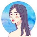 Retrato de dar vuelta a la muchacha asiática joven Fotografía de archivo libre de regalías