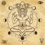 Retrato de deus horned Cernunnos ilustração do vetor
