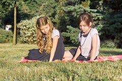 Retrato de dois amigos de meninas 7, 8 anos de assento velho na grama no parque imagem de stock royalty free