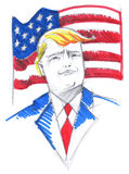 Retrato de Donald Trump con la bandera de los E.E.U.U. Imágenes de archivo libres de regalías