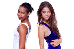 Retrato de dos diversas muchachas de las nacionalidades Fotos de archivo libres de regalías