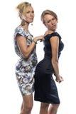 Retrato de dos hermanas humorísticas en el fondo blanco Imagen de archivo libre de regalías