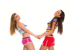 Retrato de dos muchachas encantadoras Fotografía de archivo libre de regalías