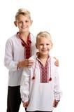 Retrato de dos muchachos en vyshyvanka Fotos de archivo