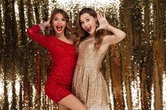 Retrato de dos mujeres felices atractivas en vestidos brillantes Foto de archivo libre de regalías