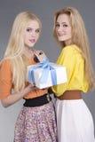Retrato de dos mujeres jovenes con un rectángulo de regalo Foto de archivo
