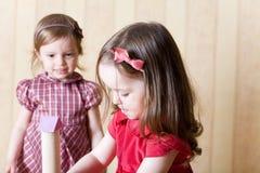 Retrato de dos niñas que construyen la torre del juguete Foto de archivo