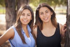 Retrato de duas irmãs do gêmeo da raça misturada Imagem de Stock