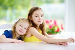 Retrato de duas irmãs mais nova bonitos em casa no dia de verão bonito fotos de stock