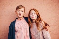 Retrato de duas meninas consideravelmente pequenas do preteen foto de stock
