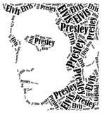 Retrato de Elvis Presley Ejemplo de la nube de la palabra Fotos de archivo