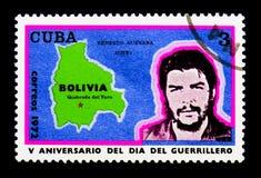 Retrato de Ernesto Guevara, 5o aniversário do dia da guerrilha Imagens de Stock