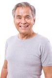 Retrato de feliz, sorrindo, homem asiático superior positivo Imagem de Stock
