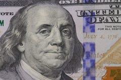Retrato de Franklin en billete de banco Imágenes de archivo libres de regalías