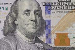 Retrato de Franklin en billete de banco Fotografía de archivo