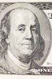 Retrato de Franklin en cientos dólares del americano Imagen de archivo
