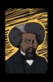 Retrato de Frederick Douglass Over Yellow Etching Imágenes de archivo libres de regalías