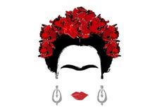 Retrato de Frida Kahlo, ejemplo del vector aislado, retrato de la mujer mexicana o española moderna, estilo de dibujo ilustración del vector