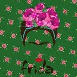Retrato de Frida Kahlo, ilustração do vetor isolada, retrato da mulher mexicana ou espanhola moderna, estilo de tiragem Imagem de Stock Royalty Free