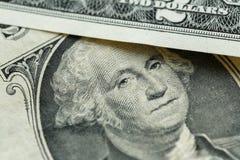 Retrato de George Washington en nosotros una macro del billete de dólar Imágenes de archivo libres de regalías