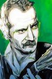 Retrato de Georges Brassens de la pintada Fotografía de archivo